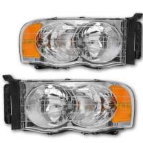 JSBOYAT Headlight Assembly Replacement for 2002-2005 Dodge Ram 1500 Pickup and 2003-2005 Dodge Ram 2500/3500 Pickup Sealed Headlamps with Chrome Housing, Driver and Passenger Side Pair