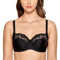 DELIMIRA Women's Plus Size Underwire Non Padded Full Coverage Lace Balconette Bra