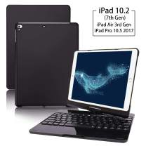 "iPad Keyboard Case for iPad 10.2"" 7th Generation 2019 ,iPad Air 3 10.5""(3rd Gen) and iPad Pro 10.5"" 2017,ONHI 360 Rotatable - 7 Colors Back-lit, Smart Folio Back Wireless Keyboard Case (Black)"