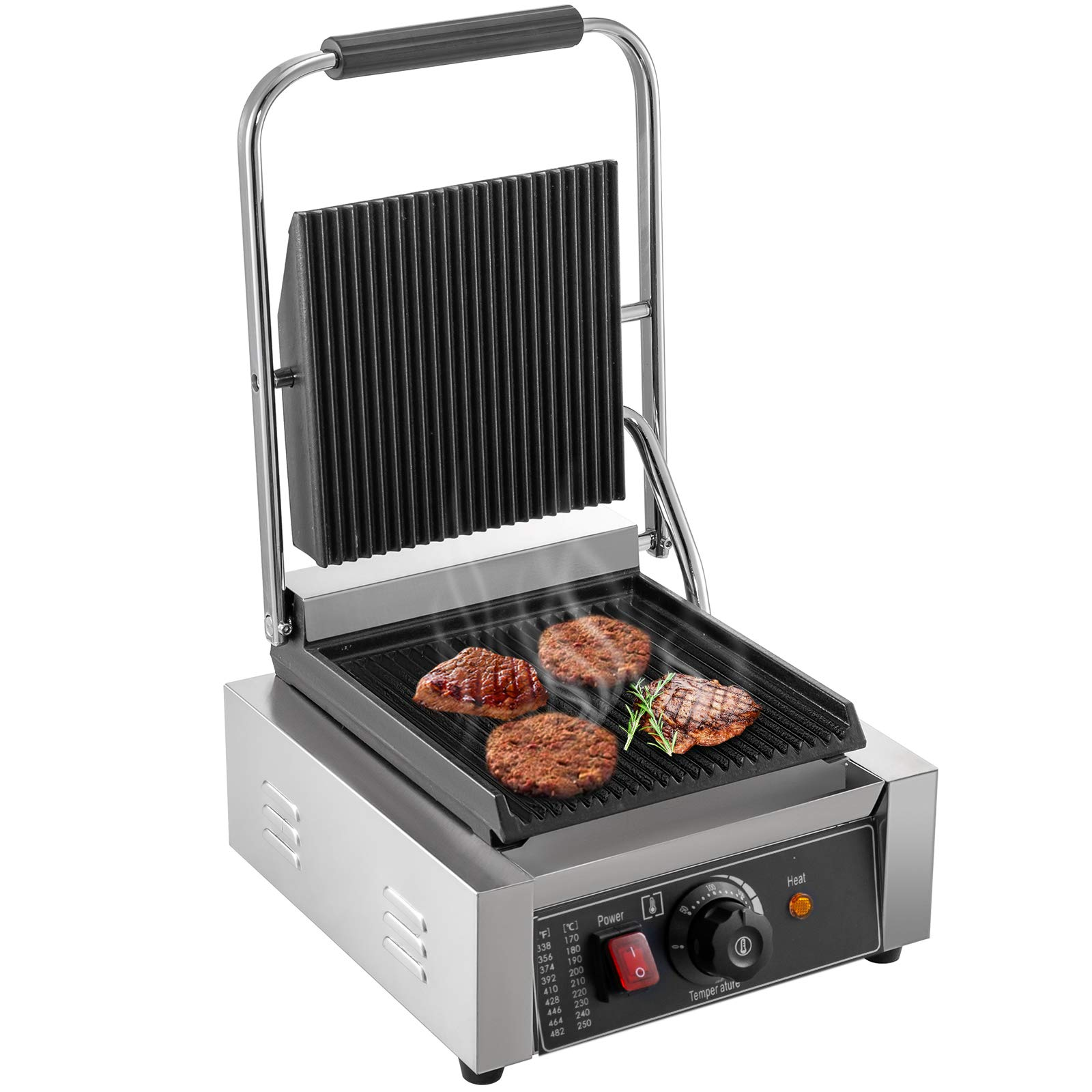 Happybuy 110V Commercial Sandwich Press Grill 1800W Electric Panini Maker Non-Stick 122°F-572°F Temp Control Full Grooved Plates for Hamburgers Steaks, 12″ x12.2″, Silver+Black
