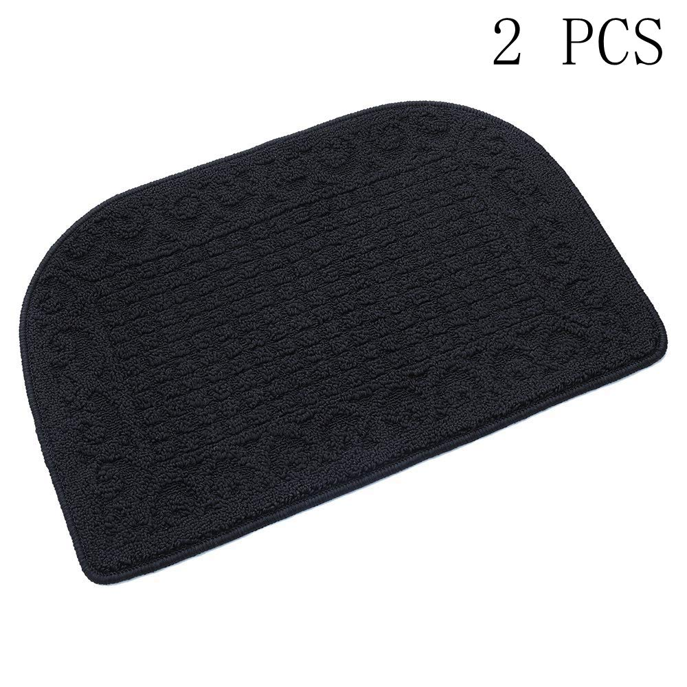 27X18 Inch Anti Fatigue Kitchen Rug Mats are Made of 100% Polypropylene Half Round Rug Cushion Specialized in Anti Slippery and Machine Washable,Black(2 pcs)