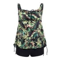 DAYU Women's Plus Size Floral Tankini Set Paisley Bathing Suits Two Piece Swimsuit Size 10-26