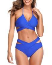 Temptme Women Bandage Bikini Set Two Piece Halter Swimsuits Criss Cross Wrap Bathing Suits