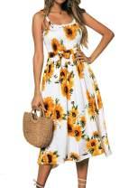 Fleur Wood Women's Casual Summer Spaghetti Strap Button Down Swing Midi Dress Sundress with Pockets