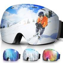 Amzdeal Ski Goggles OTG Snow Glasses Double Italian Lens Snowboard Goggles for Men and Women 100% UV Protection and Anti-Fog, Ski Glasses for Skiing,Snowmobile,Snowboaring,Skating