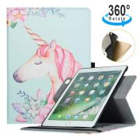 ipad 9.7 2018 2017 case,AiSMei Rotating Case with Flexible TPU Back Cover for iPad 9.7 6th Gen, 5th Gen. & 1st Air, Smart Cover with Pencil Holder,Auto Wake/Sleep -Unicorn