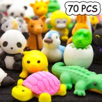 LanMa 70PCS Animal Eraser Puzzle Erasers for Kids Classroom Party Favors Prizes Gifts Cute & Novelty Animal Pencil Erasers