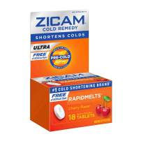 Zicam Ultra Cold Remedy Rapidmelts, Cherry Flavor, 18 Quick-Dissolve Tablets, Free of Artificial Dyes, 18 Count (Pack of 1)