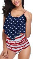 Fancyskin Womens High Waisted Swimsuit Ruffled Top Tummy Control Bathing Suits