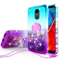 Galaxy Wireless Liquid Glitter Cute Phone Case Kickstand for LG Stylo 5 / Stylo 5 Plus Case Clear Bling Diamond Bumper Ring Stand Girls Women for LG Stylo 5 / Stylo 5 Plus - Teal/Purple