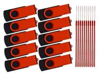 32GB Flash Drive Pack of 10 Thumb Drives Red Zip Drive Portable Pen Drive Metal Swivel USB 2.0 Memory Stick 32 GB Jump Drive with 10pcs Ropes Data Storage Gift by Kepmem