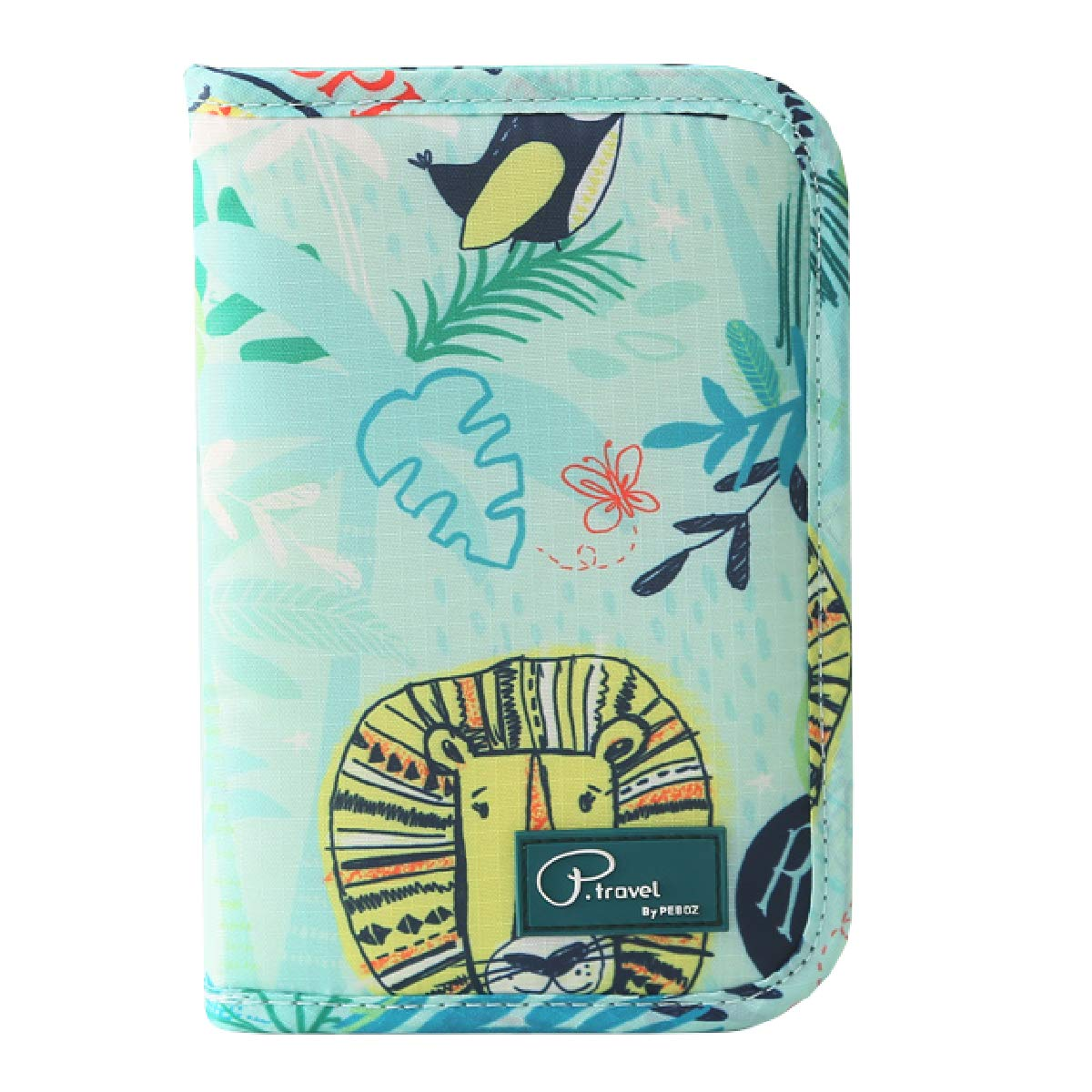 Azarxis Travel Wallet Family Passport Holder Cover Case, Waterproof Ticket Document Organizer Card Holder with Zipper for Mobile Phone, Passports, Cards, Money, Pen (Animal - Green)