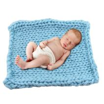 "Play Tailor Chunky Knit Blanket for Newborn Photography Props Baby Photo Backdrop Rugs Newborn Basket Filler (19.7""x19.7"", Blue)"