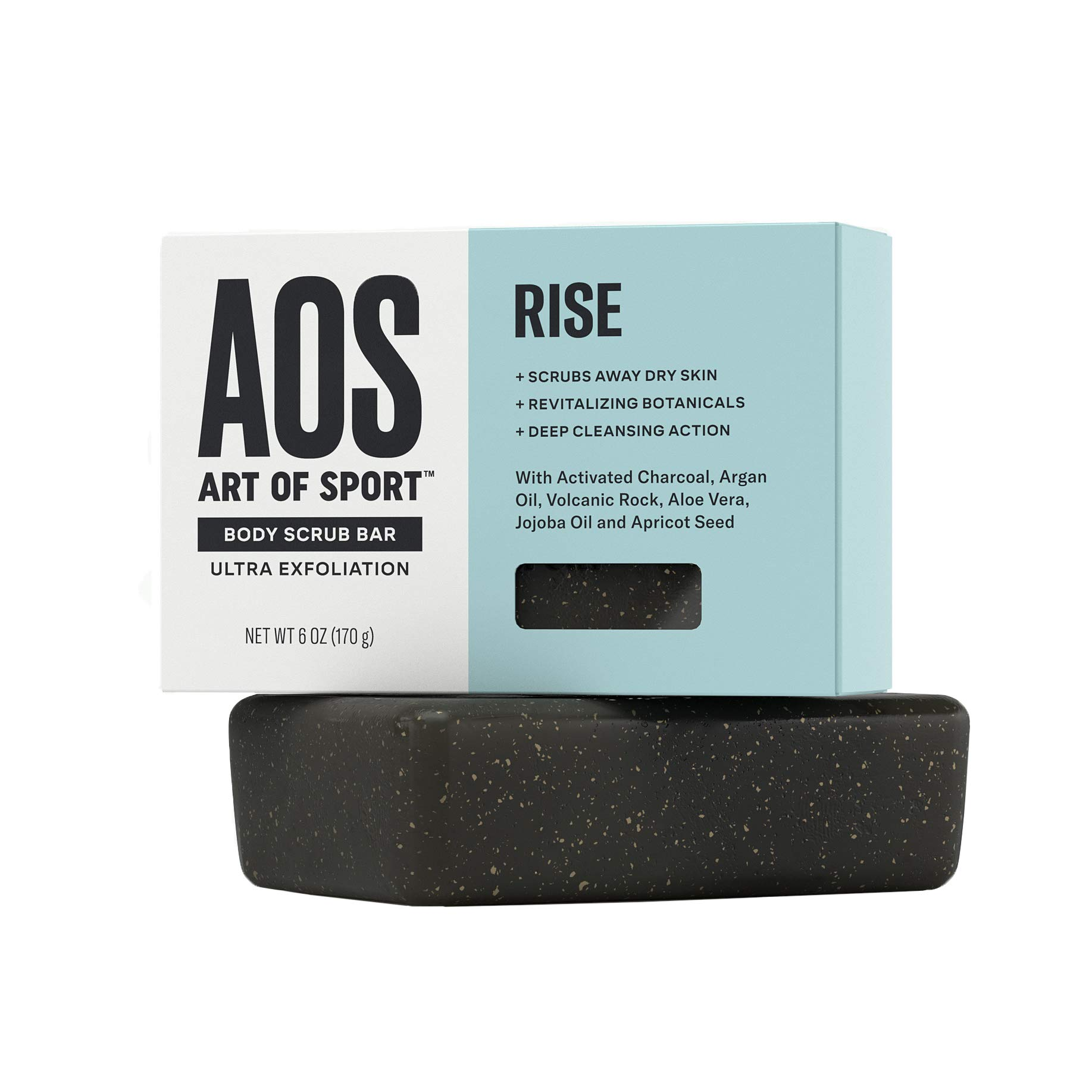 Art of Sport Men's Soap Charcoal Body Scrub Bar   Extra Fresh Rise Scent   Black Soap Bar with Natural Botanicals   Aloe Vera, Jojoba Oil, Argan Oil   Ultra Exfoliation, 6 oz