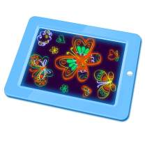 Hzran Crazy Disco Neon Light Up Glow Board-Drawing Magic Board - Writing Maker -Learning, Create, Art Tablet-Musical Light Up Tracing Pad for Kids, Blue