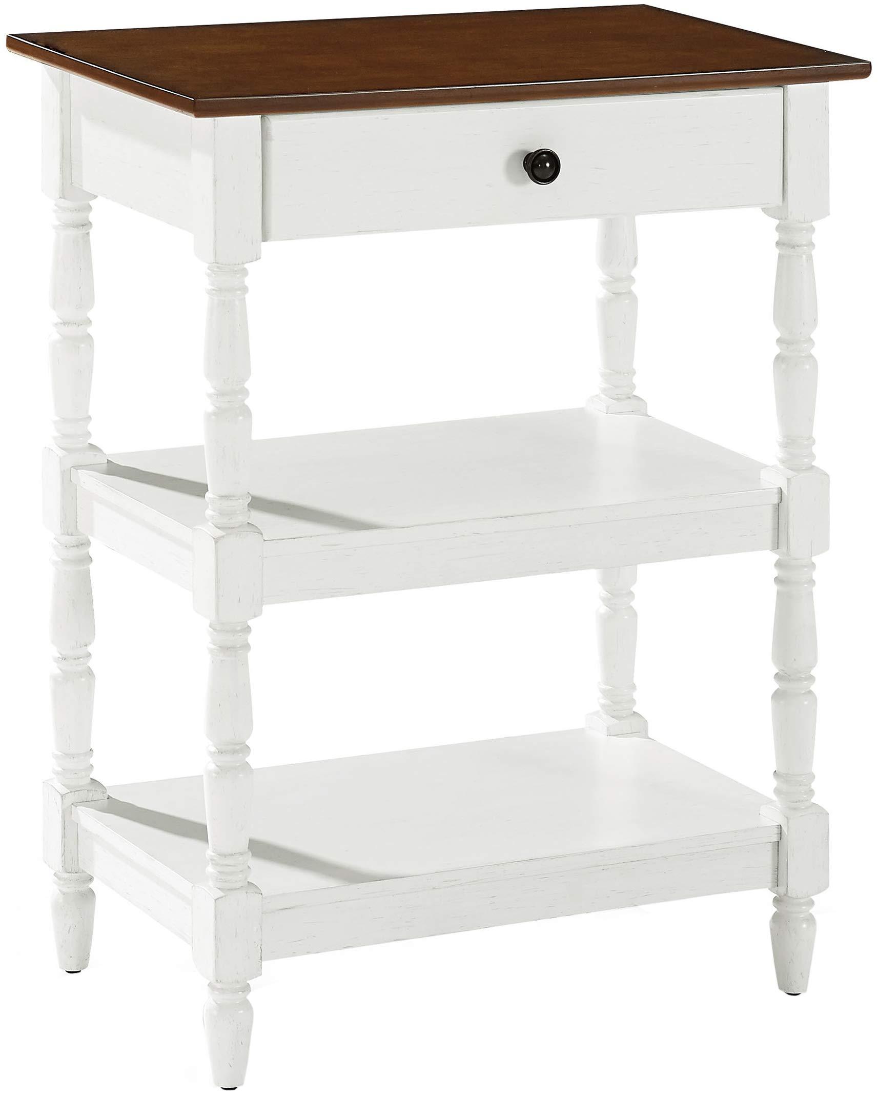 Crosley Furniture Heidi Rustic Accent Table, Distressed White