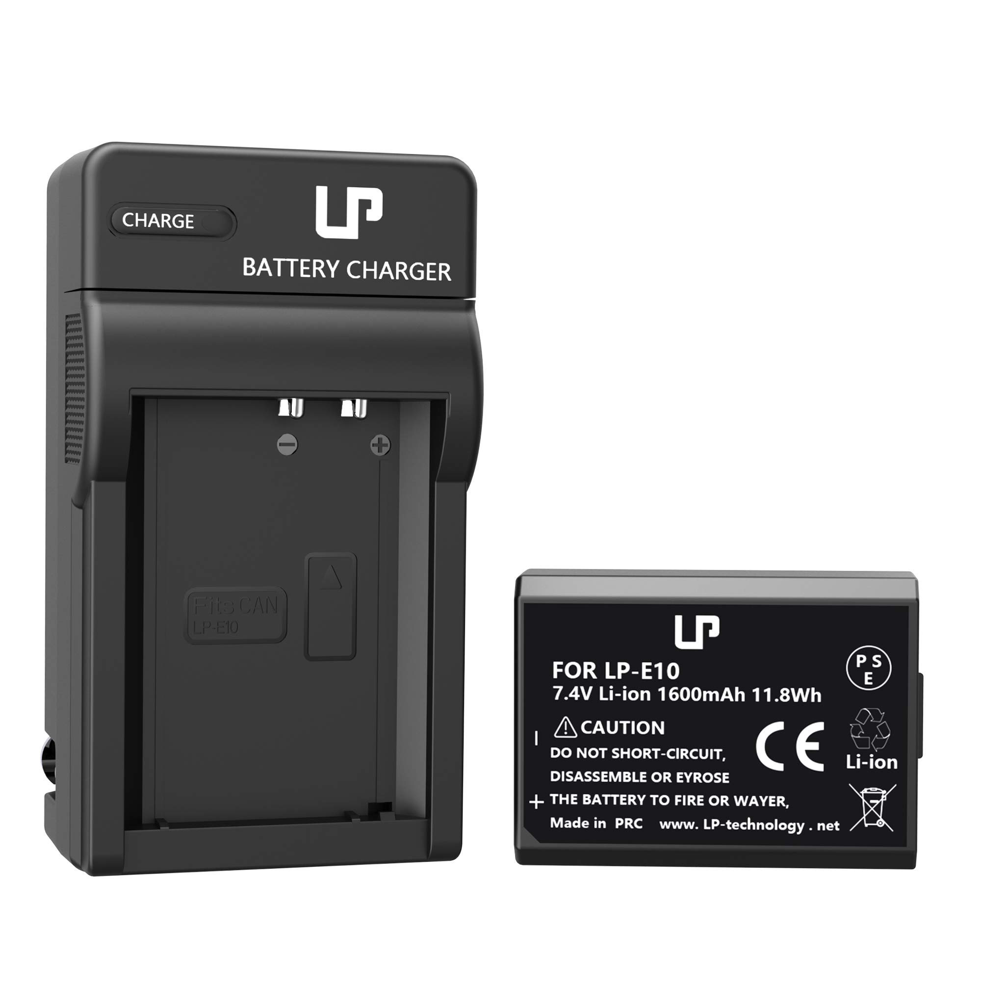 LP LP-E10 Battery Charger Pack, Compatible with Canon EOS Rebel T3, T5, T6, T7, T100, 1100D, 1200D, 1300D,1500D, 2000D, 3000D, 4000D Kiss X50, X70, X80, X90 & More (Not for T3i T5i T6i T6s T7i)