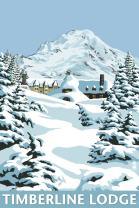 Mt. Hood, Oregon - Timberline Lodge Winter Scene 31136 (16x24 SIGNED Print Master Art Print - Wall Decor Poster)