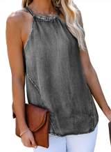 Sidefeel Womens Casual Denim High Neck Halter Tank Top Summer Loose Sleeveless Shirt