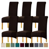 Lellen Large Jacquard Dining Chair Slipcovers Easy to Install Dining Room Chair Protector Parsons Chair Seat Covers Stretch Soft Comfortable Removable Washable Fabric Set of 6 (Brown)
