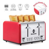 Toaster 4 Slice Extra Wide Slots Stainless Steel Toasters with Reheat Bagel Defrost Cancel Function, 6 Bread Shade Settings Removable Crumb Tray with Bonus Shade Covers