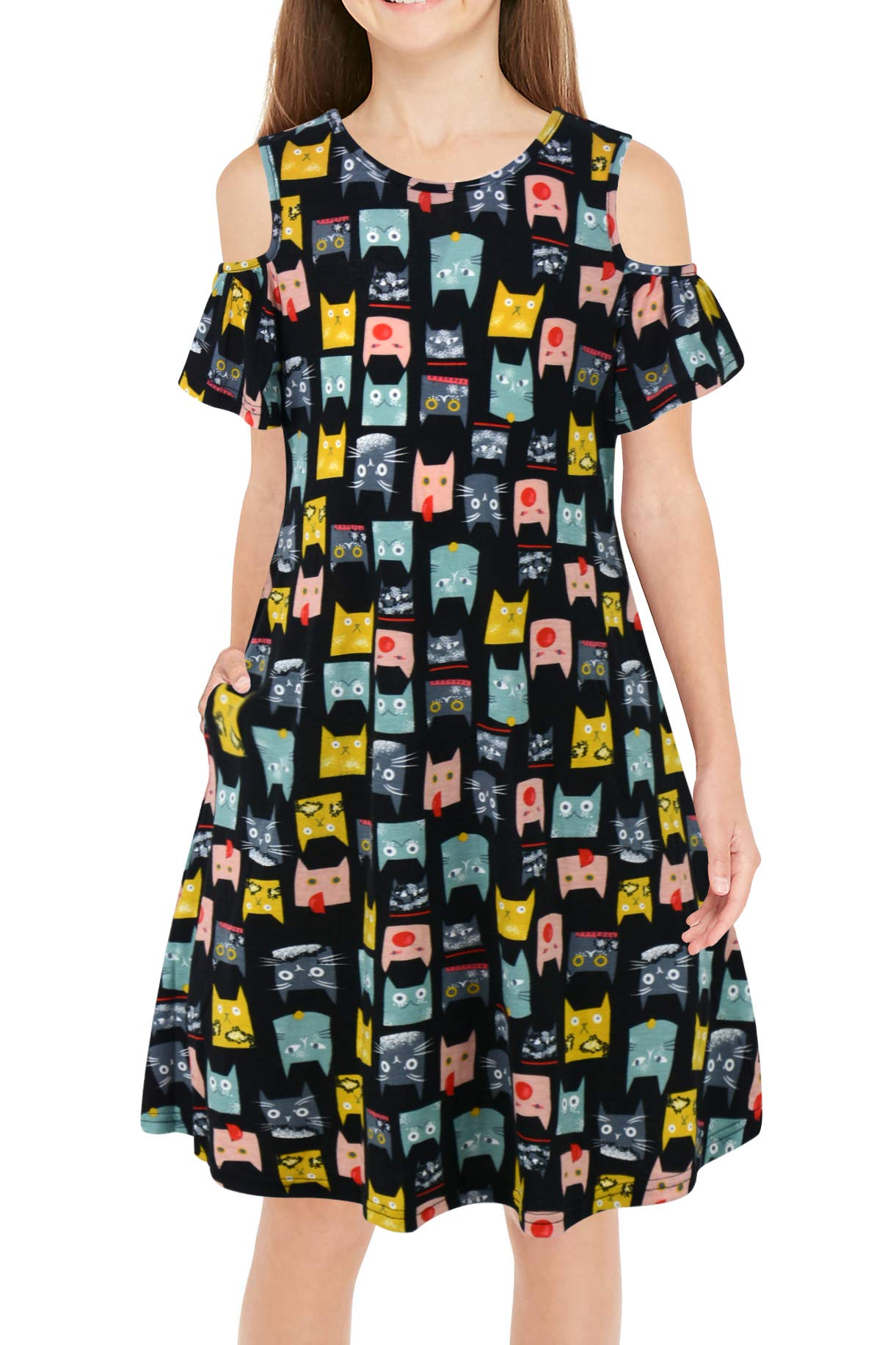 GORLYA Girl's Cold Shoulder Ruffle Sleeve Casual Loose Shift Swing Dress with Pockets 4-12 Years (GOR1004, 4-5Y, Black Cat)