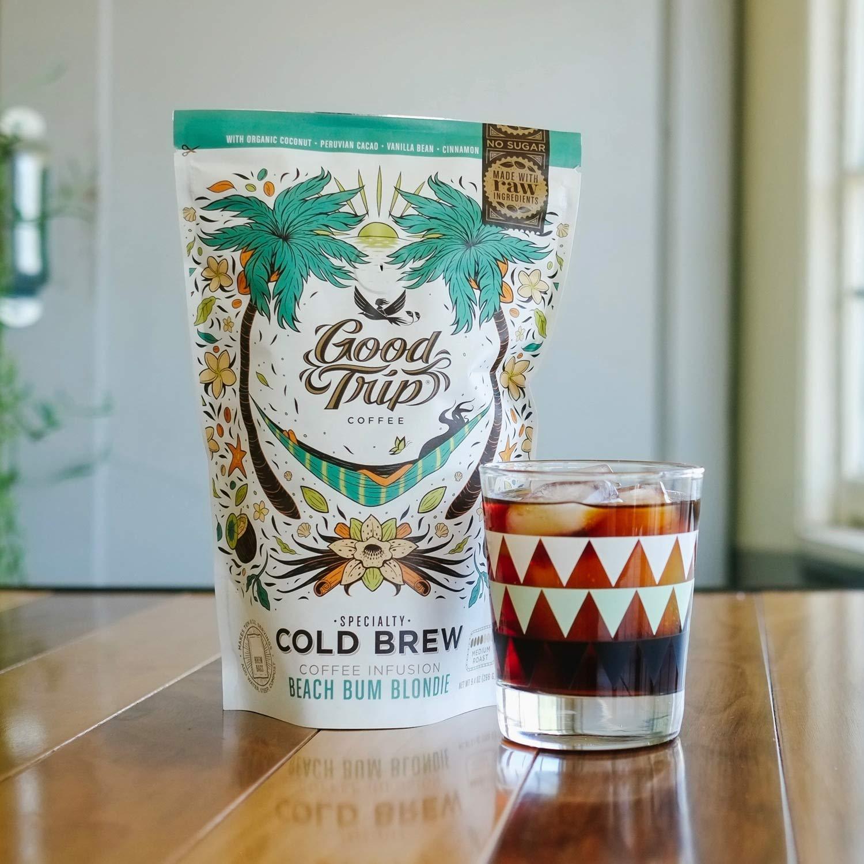 Good Trip: Beach Bum Blondie Cold Brew ~ As seen in Anthropologie | Organic Gourmet Infused Coffee. Flavored w/ Raw Coconut, Cacao & Vanilla Bean. (Vegan, GF, Keto), Simple & Delicious ~ 7 Servings
