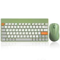 Cute Wireless Keyboard and Mouse Combo, Lag-Free Cordless Ergonomic Computer Keyboard, Silent Click Technology, Advanced Optical Tracking, 79-Key, Sleep Mode for PC Laptops Windows (Vintage Green)