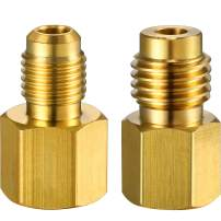 2 Pieces 6015 R134A Brass Refrigerant Tank Adapter to R12 Fitting Adapter 1/2 Female Acme to 1/4 Male Flare Adaptor Valve Core and 6014 Vacuum Pump Adapter 1/4 Inch Flare Female to 1/2 Inch Acme Male