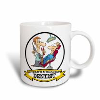 3dRose mug_103114_1 Funny Worlds Greatest Dentist Cartoon Ceramic Mug, 11-Ounce