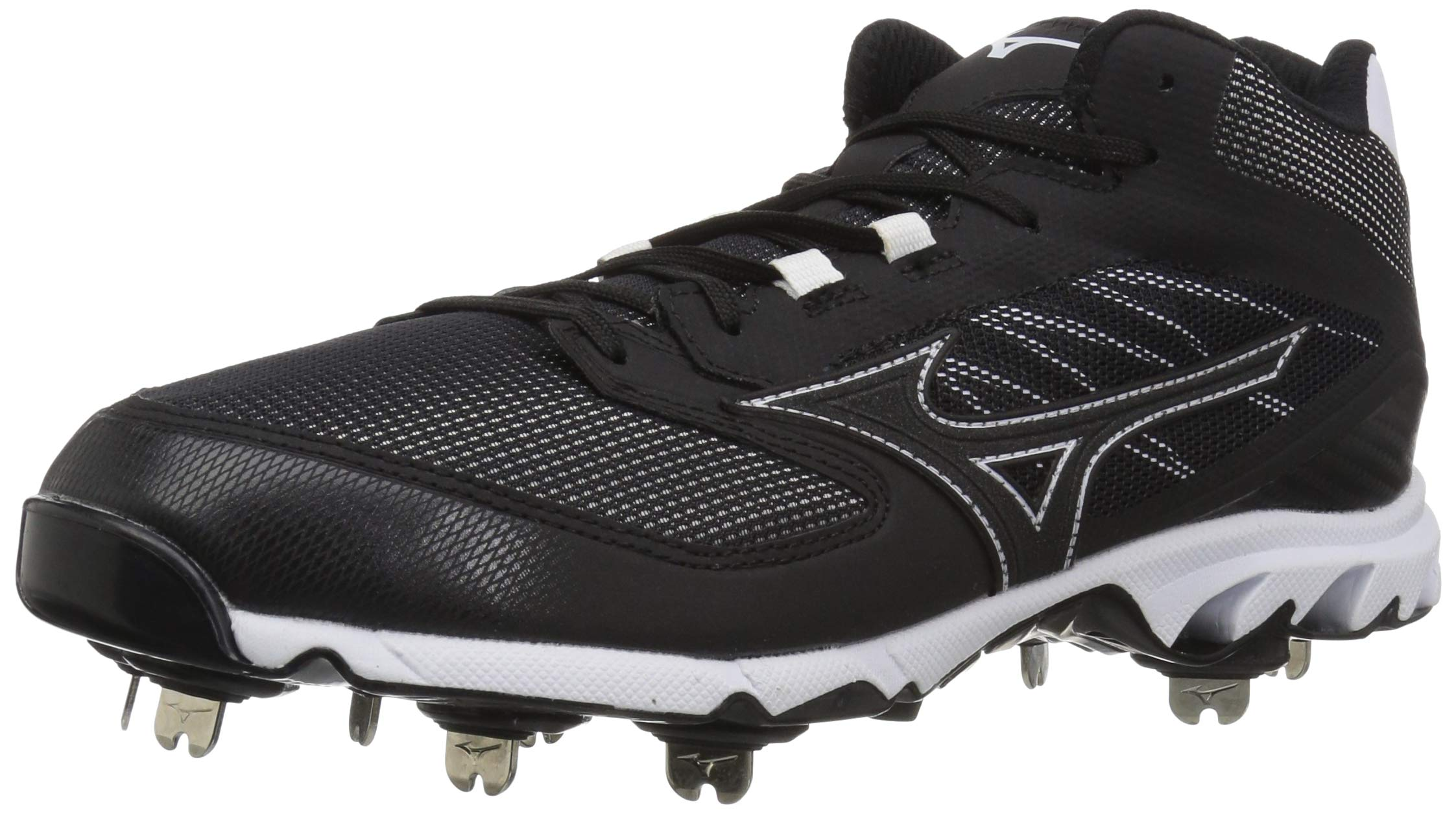 Mizuno Men's 9-Spike Dominant IC Mid Metal Baseball Cleat Athletic Shoe, Black/White