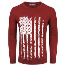 VICALLED Men's T-Shirt Long Sleeve Distressed American Flag Pullover Printed Distressed T-Shirt