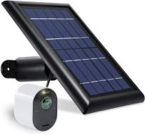 Wasserstein Solar Panel with 13.1ft/4m Cable Compatible with Arlo Ultra & Arlo Pro 3 ONLY - Power Your Arlo Surveillance Camera continuously (1-Pack, Black) (NOT Compatible with Arlo Pro/Pro2)