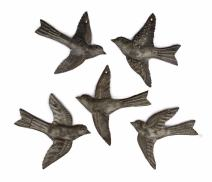 Set of 5 Small Birds Flying, Decorative Figurines, Haitian Recycled Metal Drum Wall Hanging Art, Nature Inspired,
