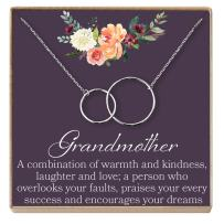 Dear Ava Grandmother Gift Necklace: New Grandmother, Grandmother to Be, 2 Interlocking Circles