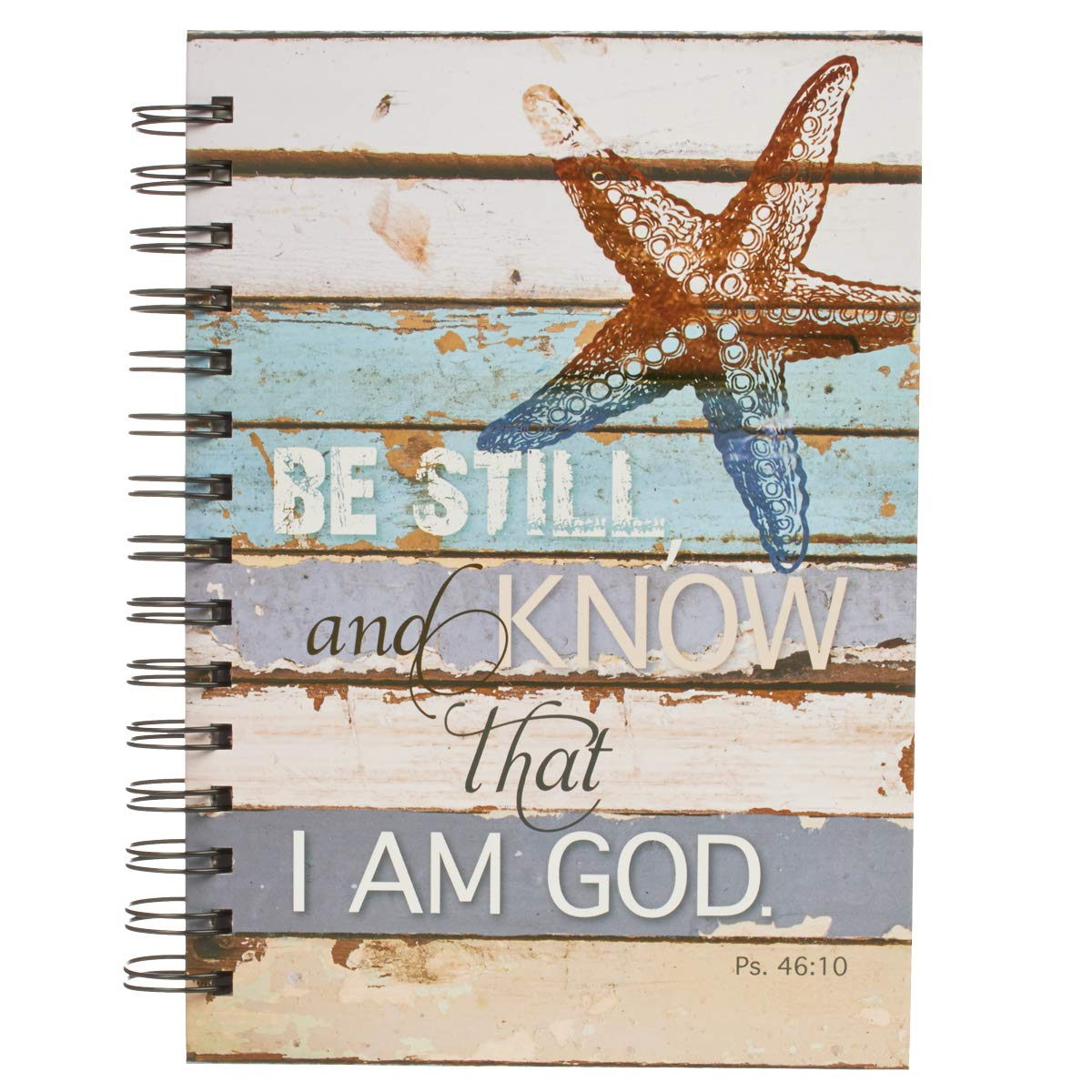 """Christian Art Gifts Large Hardcover Notebook/Journal   Be Still and Know – Psalm 46:10 Bible Verse   Coastal Beach Inspirational Wire Bound Spiral Notebook w/192 Lined Pages, 6"""" x 8.25"""""""