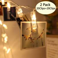 Areskey 2 Pack 10 ft 20 LED Photo Clips String Lights Battery Operated Fairy String Lights with Clips for Hanging Pictures, Cards, Artwork (Warm White)