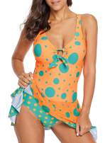 Dearlove Womens Sexy Halter Patchwork Printed Open Back Tankini Top Set Two Piece Swimsuits