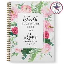 """Softcover Faith and Love 8.5"""" x 11"""" Spiral Notebook/Journal, 120 College Ruled Pages, Durable Gloss Laminated Cover, Gold Wire-o Spiral. Made in the USA"""
