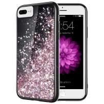 Caka iPhone 7 Plus Case, iPhone 8 Plus Glitter Case Starry Night Series Bling Flowing Floating Liquid Sparkle Soft TPU Black Glitter Case for iPhone 6 Plus 6S Plus 7 Plus 8 Plus (5.5 inch) (Rose Gold)