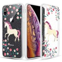 Caka Clear Case for iPhone Xs Max Floral Glitter Clear Case Flower Pattern Animal Slim Girly Anti Scratch Premium Clarity TPU Crystal Protective Case for iPhone Xs Max (6.5 inch) (Unicorn)