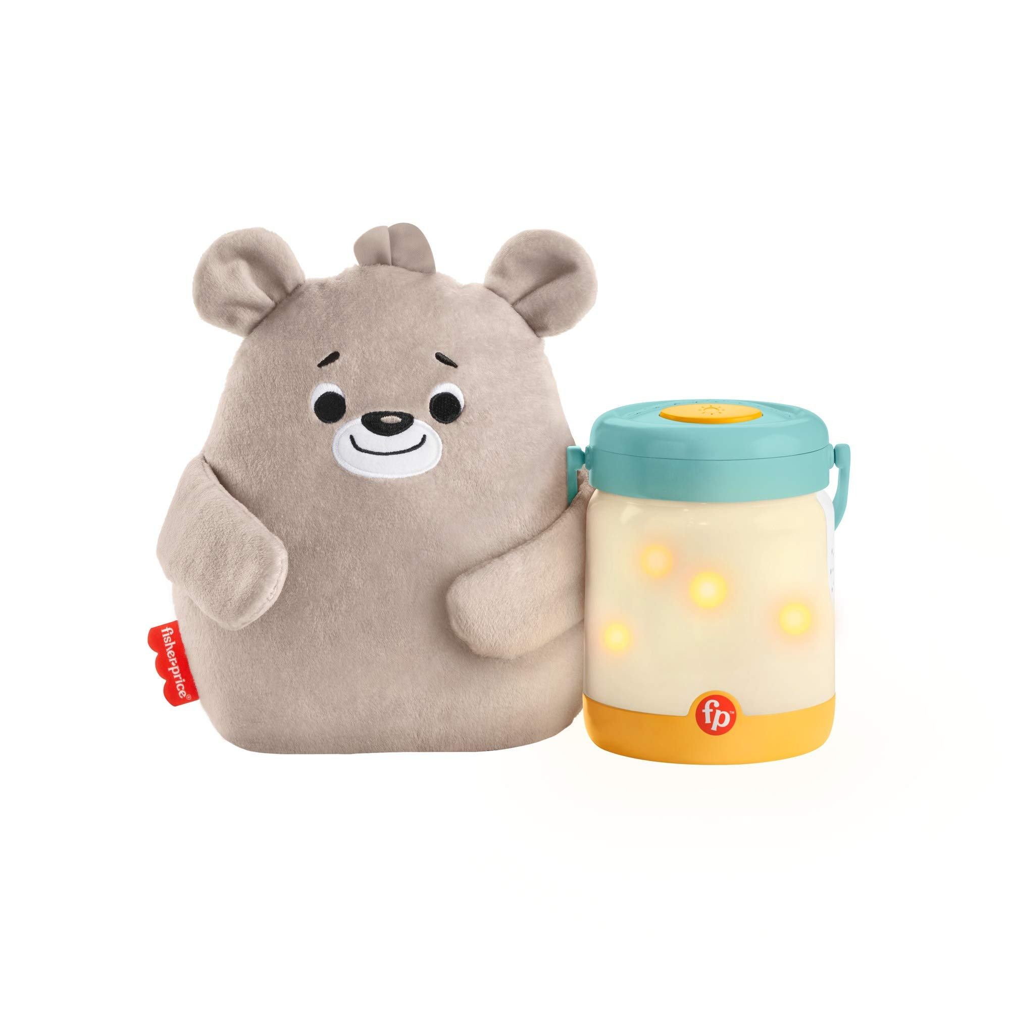 Fisher-Price Baby Bear Firefly Soother Lightup Nursery Sound Machine with TakeAlong Plush Toy for Babies Toddlers, Multicolor