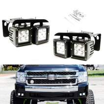 iJDMTOY LED Pod Light Fog Lamp Kit Compatible With 2007-14 Chevy Silverado 1500 2500 3500 HD, Includes (4) 20W High Power CREE LED Cubes, Foglight Location Mounting Brackets