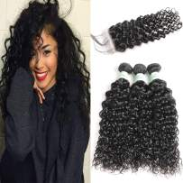 Wet and Wavy Human Hair Bundles with Closure Grade 8A Water Wave Brazilian Hair 3 Bundles with 4×4 Lace Closure Bleached Knots Baby Hair can be Dyed and Bleached (12 14 16 with 10, natural black)