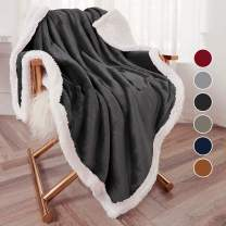 "Bonzy Home Sherpa Throw Blanket, Flannel Throw Blanket Cozy Warm Sherpa Super Soft Fuzzy Fleece Blanket Lightweight and Washable 50""x 60"" Throw Size(Dark Gray)"