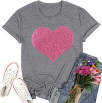Valentines Day Shirts Women Love Heart Shirts Valentines Sequins Heart Love Tee Glittery Cute Sparkle Graphic Printed Tee