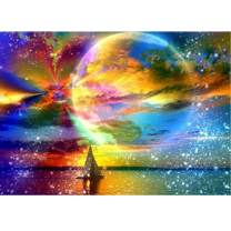 MXJSUA DIY 5D Diamond Painting by Number Kits Full Round Drill Rhinestone Picture Art Craft Home Wall Decor Colored Moon Starry Sky 12x16In