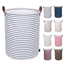 DOKEHOM 19-Inches Freestanding Laundry Basket with Lid, Collapsible Large Drawstring Clothes Hamper Storage with Handle (Blue Stripe, L)