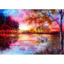 DIY 5D Diamond Painting Full Round Drill Kits Rhinestone Picture Art Craft for Home Wall Decor 12x16In Colored Lake Water