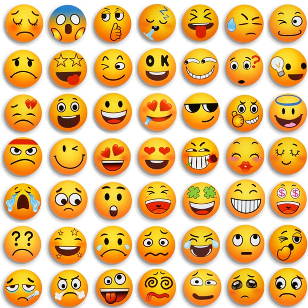 54 Pcs Emoji Magnets Fridge Decorative for Refrigerator Whiteboards Locker Office Door,Funny Gifts for Kids Toddlers Adults
